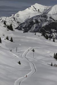 Snowshoers on sunny  snowy mountain path  Switzerland