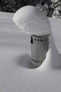 Snow covering chimney