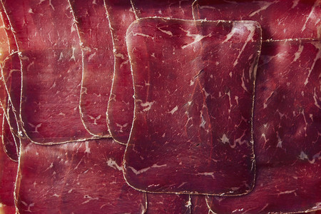 View from above sliced  air dried Buendnerfleisch meat