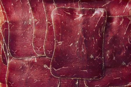 View from above sliced air dried Buendnerfleisch meat