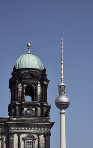 Television Tower and Berlin Cathedral against sunny  Germany