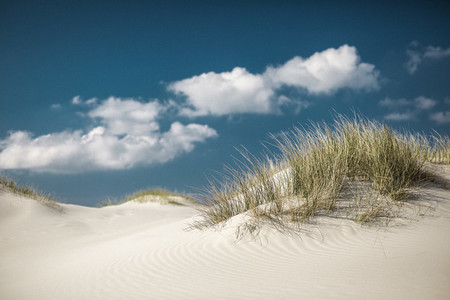 Idyllic sand dunes under sunny blue sky with clouds Germany