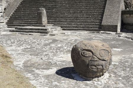 Carved rock Cholula Pyramid Cholula Mexico