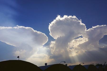 Cumulonimbus clouds in sunny sky
