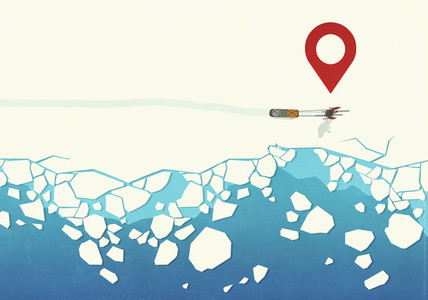 Map pin icon above person sledding in snow