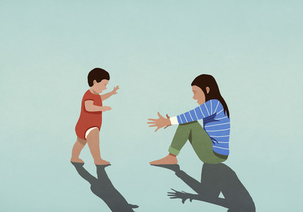 Baby taking first steps toward mother with arms outstretched