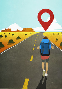 Map pin icon above woman backpacking on remote desert road