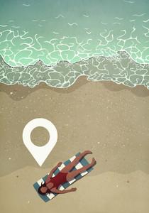 Map pin icon above woman sunbathing on ocean beach