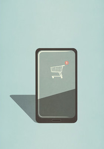Shopping cart app on smart phone screen