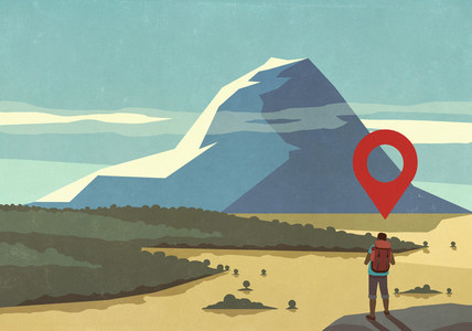 Map pin icon above man hiking  looking at majestic mountain landscape view