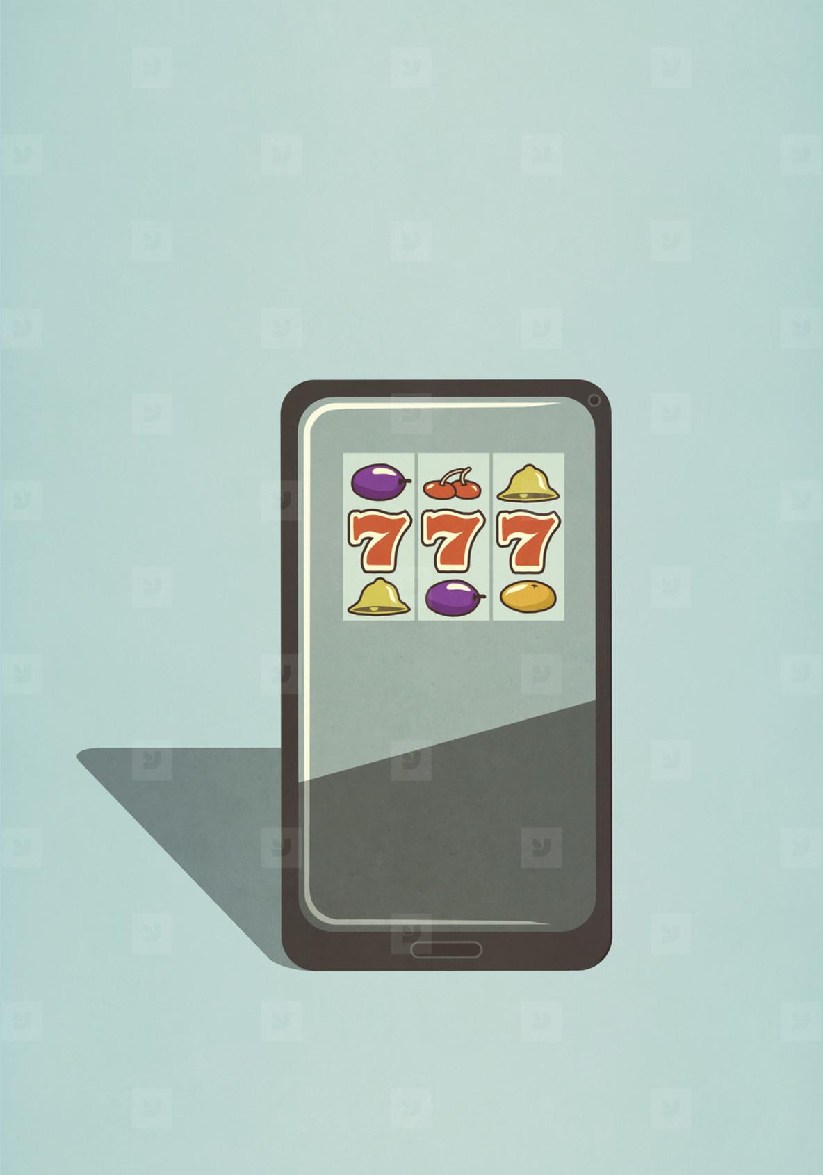 Slot machine game on smart phone screen