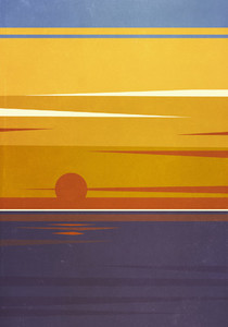 Sun setting over tranquil ocean