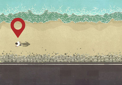 Map pin icon above man walking on sunny ocean beach