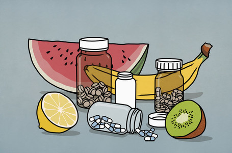 Still life fruit and supplement medication bottles