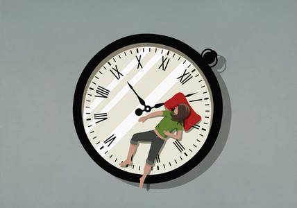 Woman sleeping on pocket watch