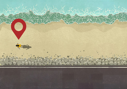 Map pin icon above woman walking on sunny ocean beach
