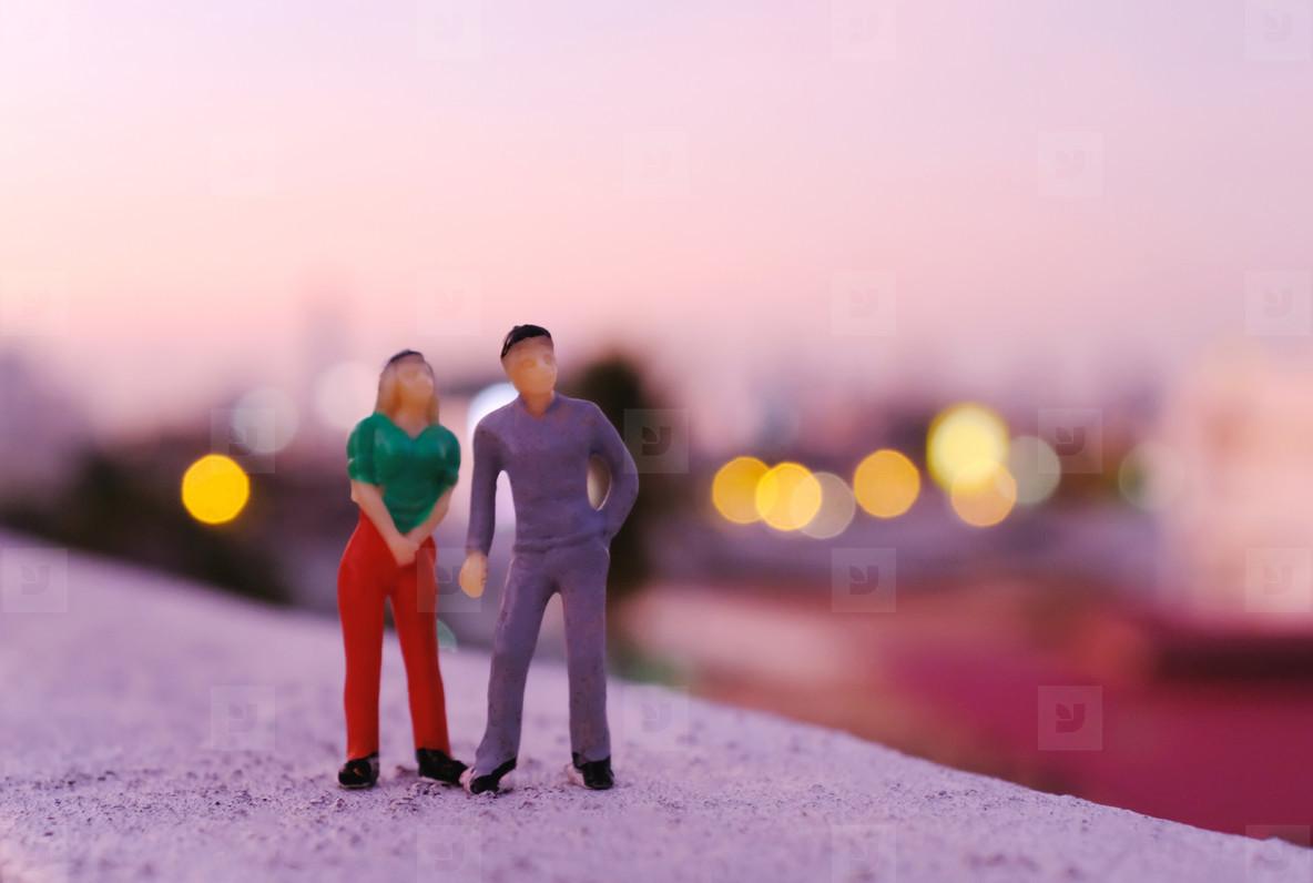 Miniature couple people figure