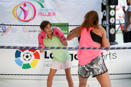 GRANADA  ANDALUSIA  SPAIN  October 12th  2019  Women boxers training in the street