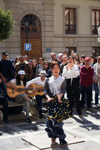 GRANADA SPAIN 10th MARCH 2019 Flamenco dancer dances for tourists in Plaza Nueva