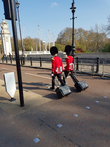London  United Kingdom  April 14th  2019  Two men of The Queens Guard coming to buckingham palace