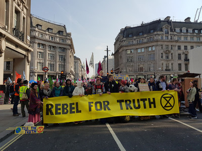 London  United Kingdom  April 15th 2019  Extinction Rebellion protesters block in Oxford Circus in central London