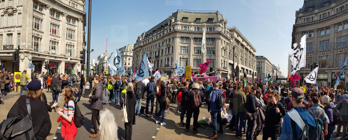 London  United Kingdom  April 15th 2019  Extinction Rebellion protesters block in Oxford Circus in central London