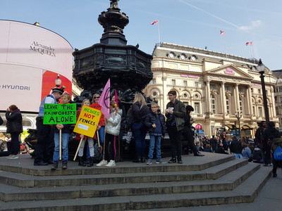 London United Kingdom April 15th 2019  Extinction Rebellion protesters block in Picadilly Circus in central London
