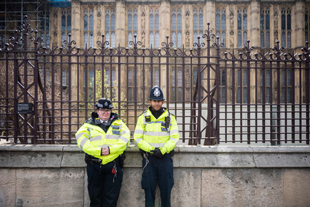 London  United Kingdom  April 13th 2019  Two police officers standing outside Westminster Parliament