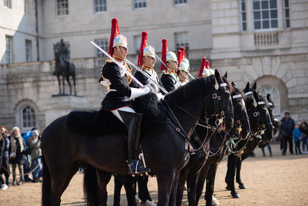 Queens Guard March on Horses in the Streets of London  United Kingdom