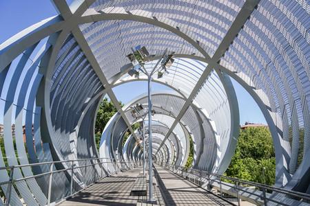 MADRID  SPAIN  8th August  2019  Perrault metal spiral Bridge in Rio Madrid