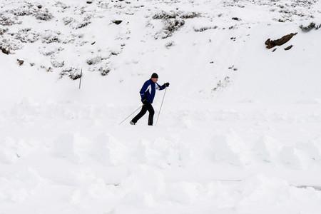 Senior man cross country skiing in Sierra Nevada