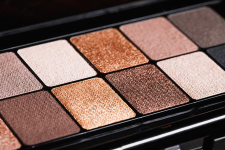 Set of nude mineral eyeshadow in a palette  Satin  matte  and metallic shades