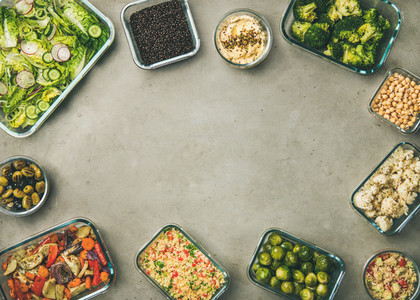 Various healthy vegan or vegetarian dishes and ingredients copy space