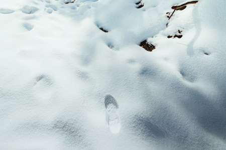 Footstep on the fresh friable snow