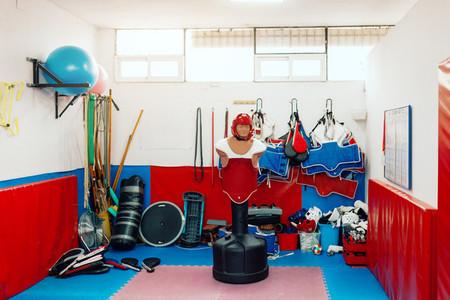 Taekwondo training material in dojo