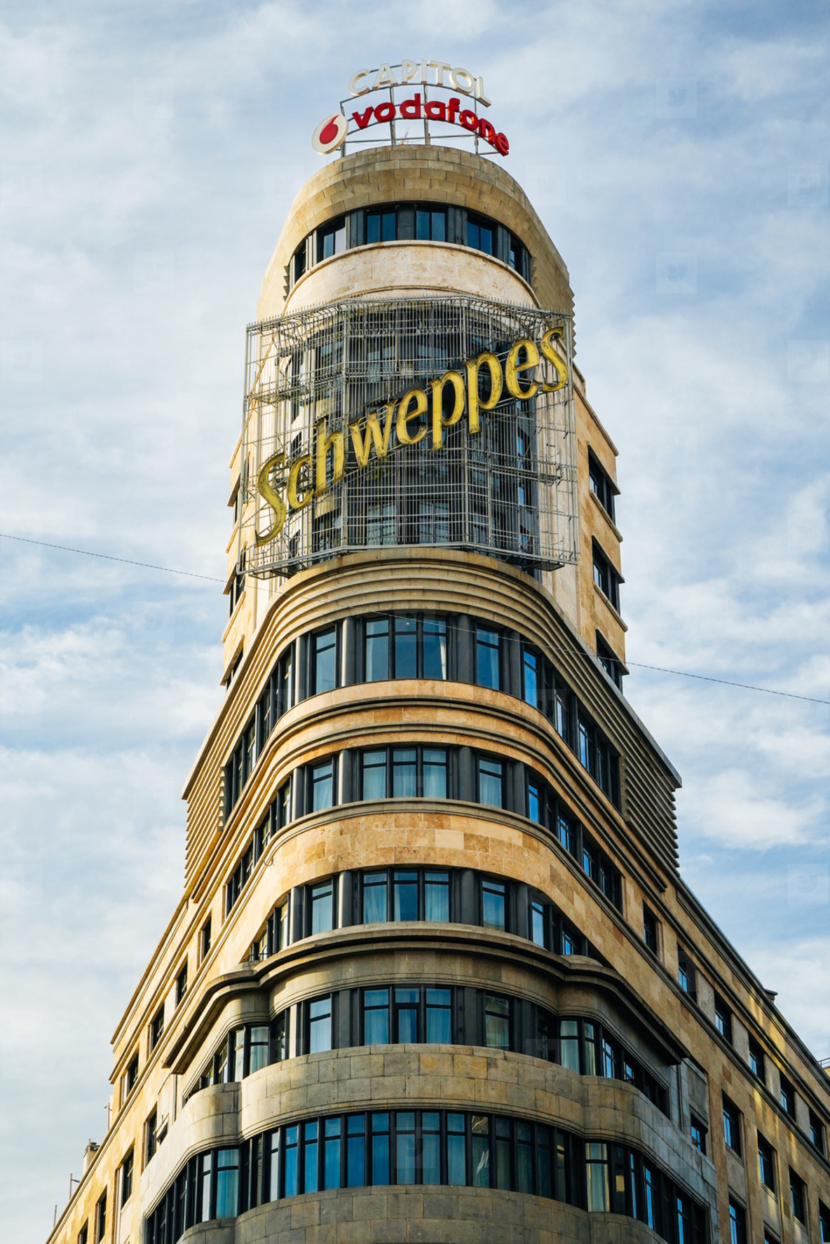 MADRID  SPAIN  26TH DECEMBER  2019 Famous Scheweppes building in Gran Via