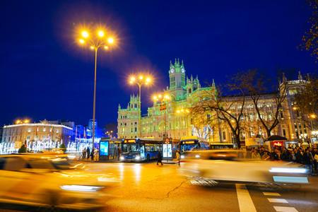 MADRID SPAIN 26TH DECEMBER 2019 Palacio de comunicaciones de Madrid current City Hall at night