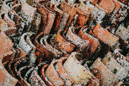 Old and dirty of moss roof tiles