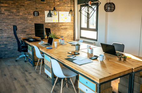 Interior of industrial style coworking office
