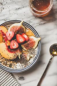 Healthy breakfast bowl with yogurt fruits and honey