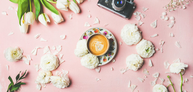 Spring layout with coffee  camera and white   wide composition