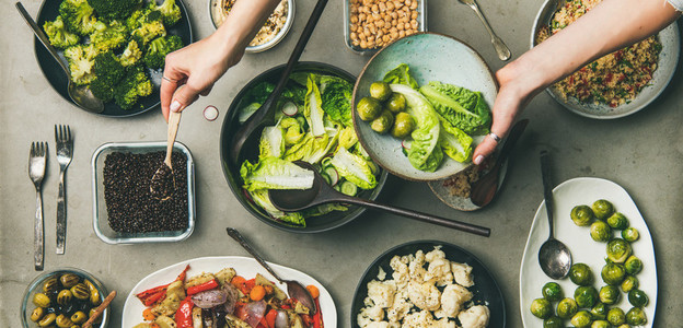 Healthy vegan dishes and woman hands with plate wide composition