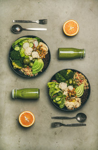 Healthy dinner with superbowls and green smoothies