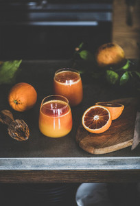 Two glasses of fresh blood orange juice or smoothie