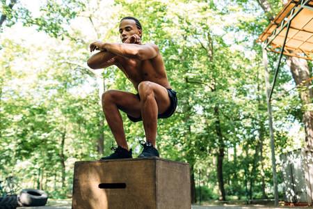 Athlete doing box jumping