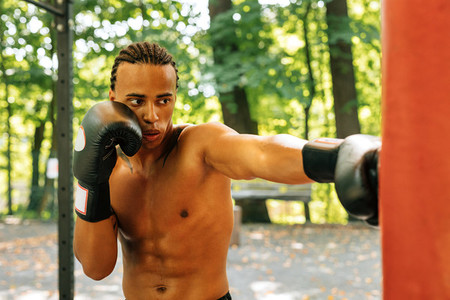 Kickboxer practicing punches