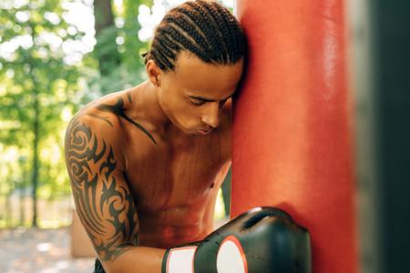 Exhausted kickboxer
