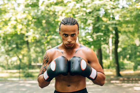 Sweated male boxer
