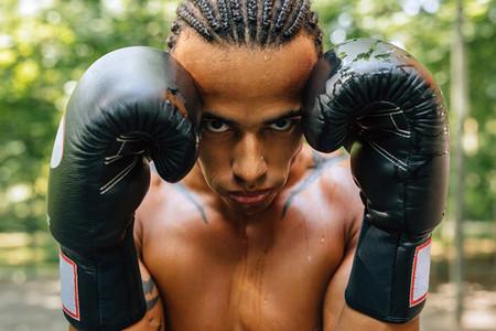 Close up portrait of boxer
