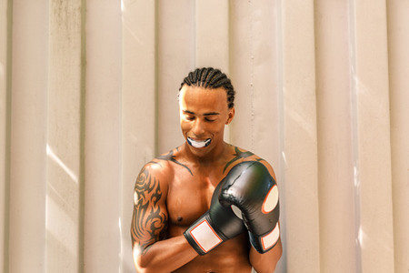 Male boxer with mouth guard